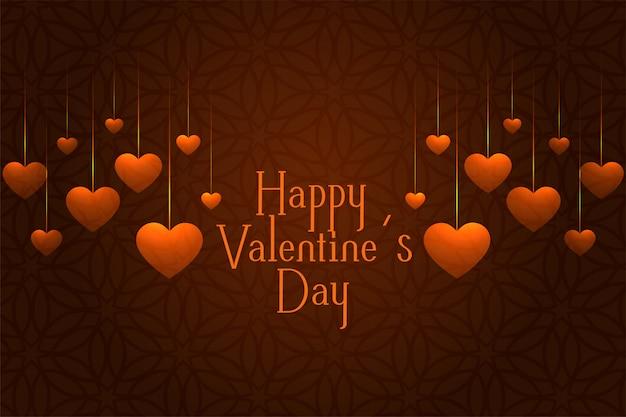 心をぶら下げとバレンタインの日のお祝いグリーティングカード 無料ベクター