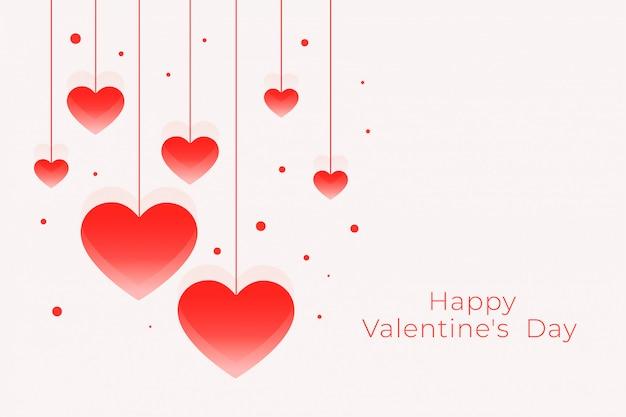 心をぶら下げと幸せなバレンタインデー素敵なグリーティングカード 無料ベクター