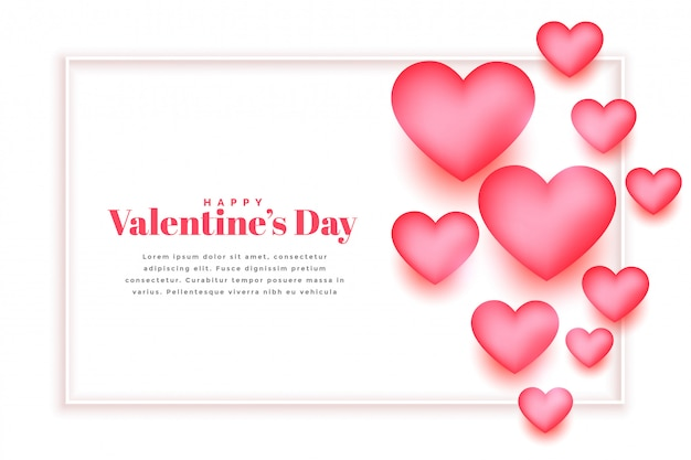 Красивые розовые сердца валентина дизайн шаблона поздравительной открытки Бесплатные векторы