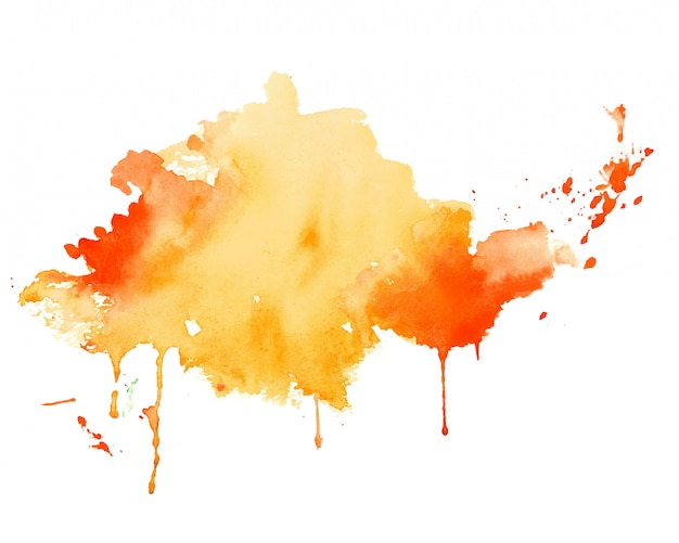 黄色とオレンジ色の水彩スプラッシュテクスチャ背景 無料ベクター