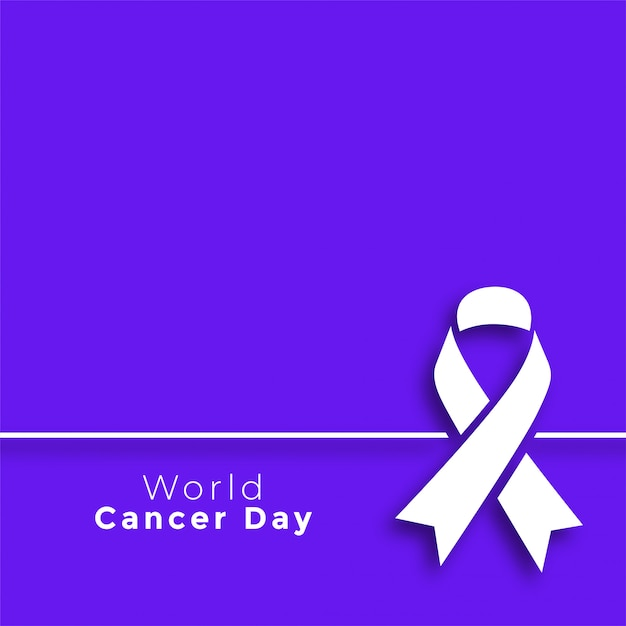 紫の世界がんの日最小限ポスター 無料ベクター