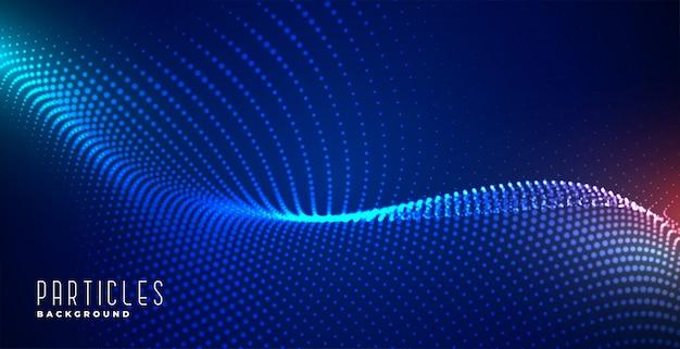 Светящиеся цифровые частицы синий фон технологии Бесплатные векторы