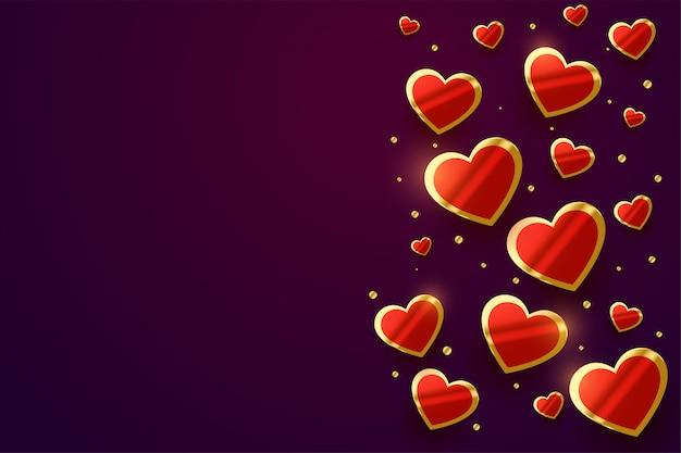 美しい光沢のある黄金の心バレンタインデーバナー 無料ベクター