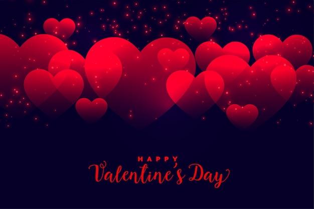 バレンタインデーのロマンチックな赤いハートの背景 無料ベクター