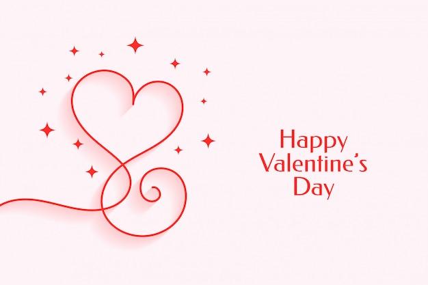 幸せなバレンタインデーのための創造的なラインハート 無料ベクター