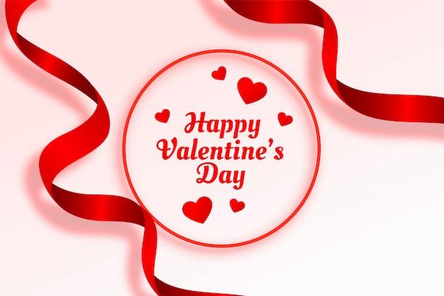 幸せなバレンタインデーの美しいリボンとハートの背景 無料ベクター