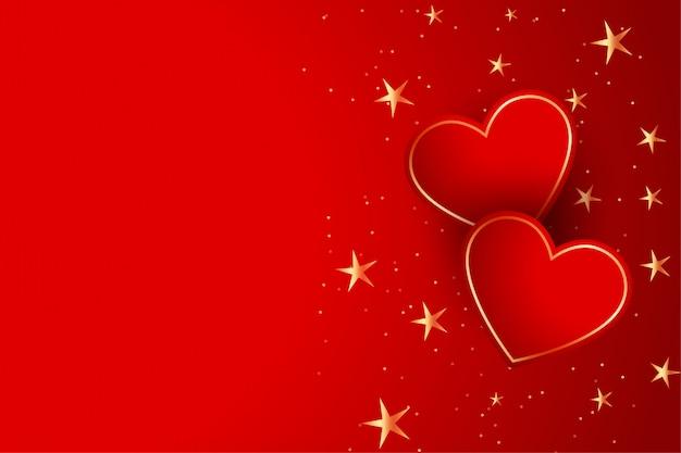 Два красных сердца с фоном золотых звезд Бесплатные векторы