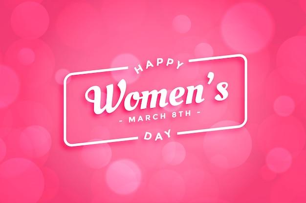 Красивая розовая счастливая женская поздравительная открытка дня Бесплатные векторы