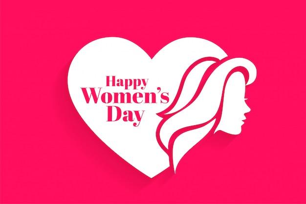 Счастливая женская дневная поздравительная открытка лица и сердца Бесплатные векторы
