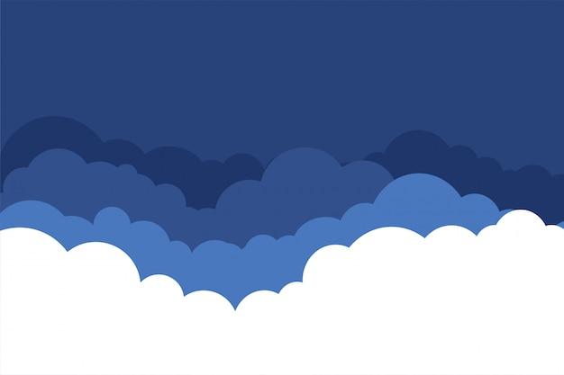 青い色合いのバックグラウンドでフラットスタイル雲 無料ベクター