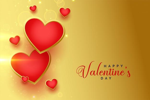 С днем святого валентина золотые сердца открытка Бесплатные векторы