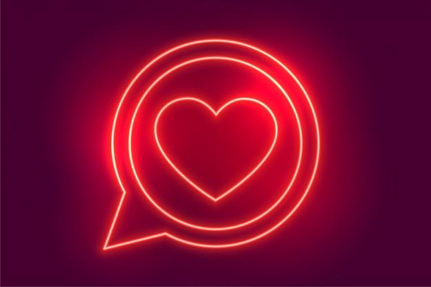 Неон любовь сердце чат символ фон Бесплатные векторы