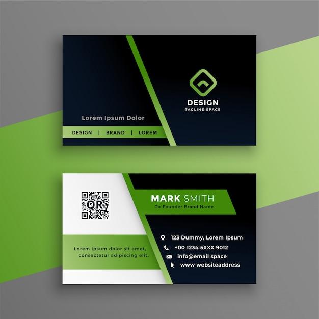 Профессиональная зеленая визитка современный шаблон Бесплатные векторы