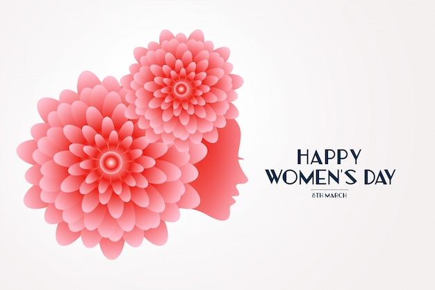 Элегантная счастливая женская цветочная поздравительная открытка Бесплатные векторы