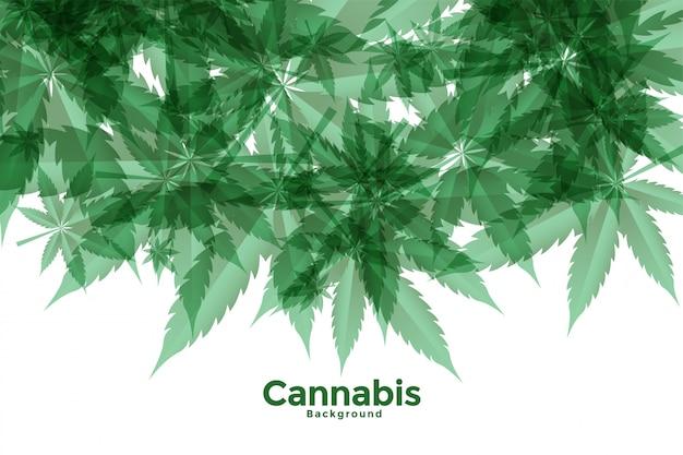 緑の大麻またはマリファナの葉の背景 無料ベクター