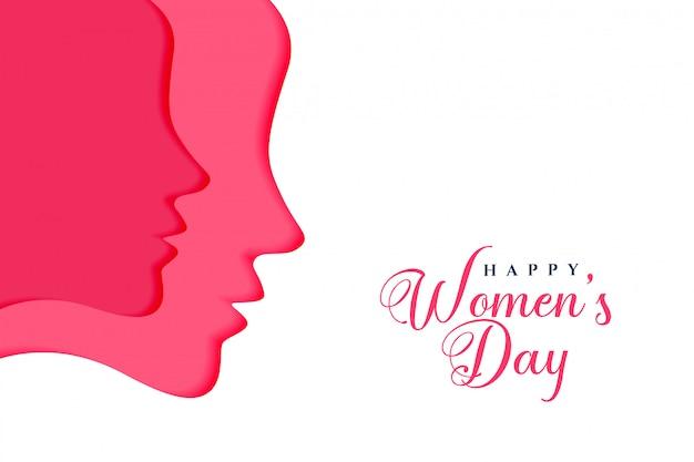 Два женских лица на счастливый женский день Бесплатные векторы