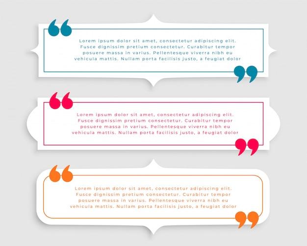 Три винтажный стиль цитаты набор шаблонов Бесплатные векторы