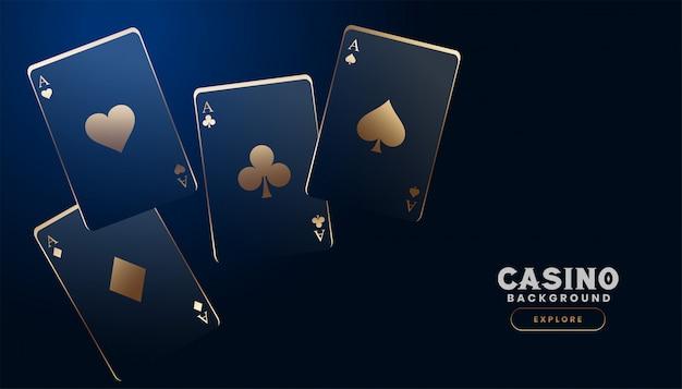 暗い青色の背景にスタイリッシュなカジノカード 無料ベクター