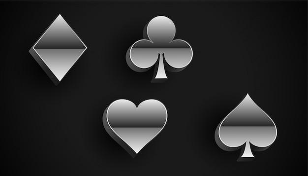 シルバーメタルスタイルのトランプスーツシンボル 無料ベクター