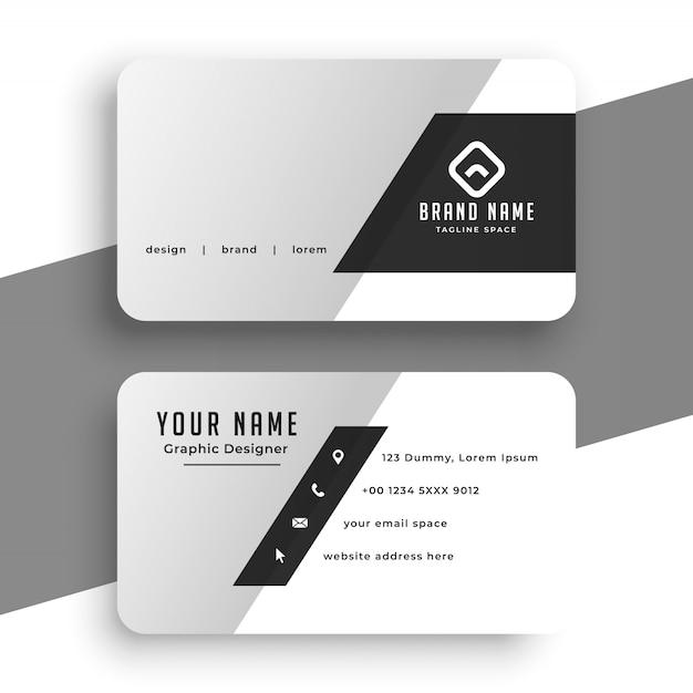 Чистый минимальный серый шаблон визитной карточки Бесплатные векторы