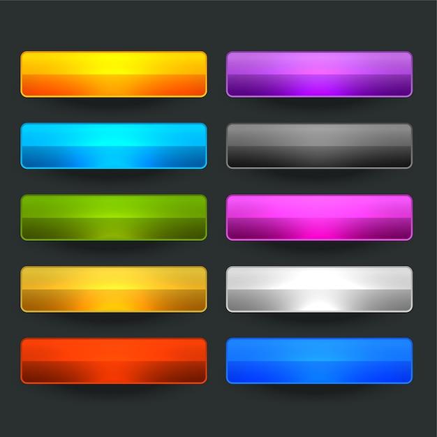 Десять глянцевых блестящих широких пустых кнопок Бесплатные векторы