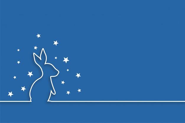 ラインスタイルのデザインで星とウサギ 無料ベクター
