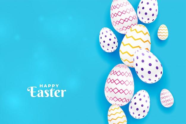 Красочные пасхальные яйца в синем фоне Бесплатные векторы