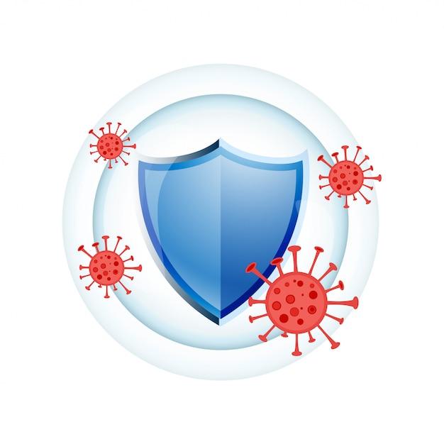 Концепция дизайна щита медицинской защиты иммунной системы Бесплатные векторы