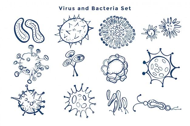 ウイルスとバクテリアの細菌のデザインのコレクション 無料ベクター