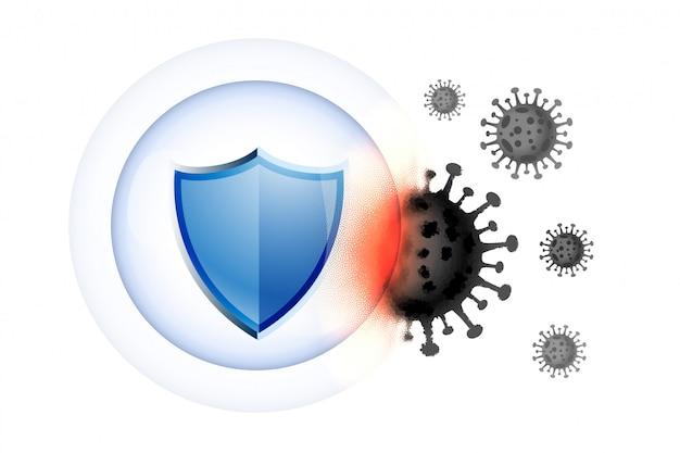 Охрана здоровья медицинского щита от вирусов Бесплатные векторы