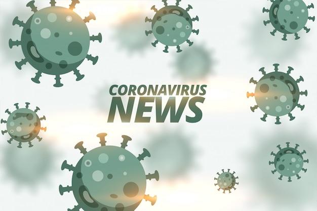 浮遊ウイルス細胞によるコロナウイルスのニュースの背景 無料ベクター