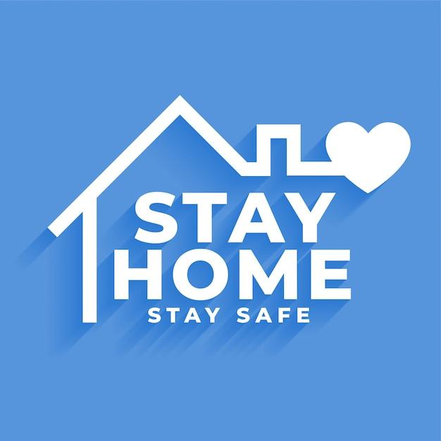 Оставайся дома и оставайся в безопасности концепция дизайна плаката Бесплатные векторы