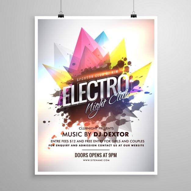 Электро ночной клуб шаблон музыка партия флаер Бесплатные векторы