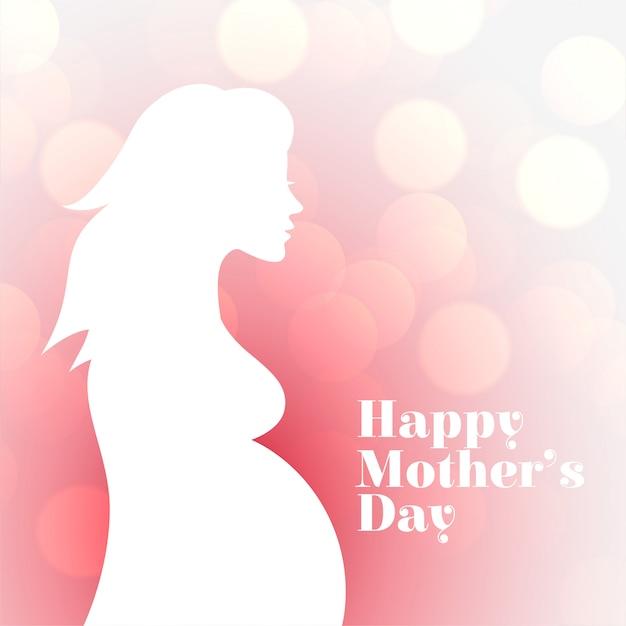 幸せな母の日のための妊娠中の女性のシルエットカード 無料ベクター