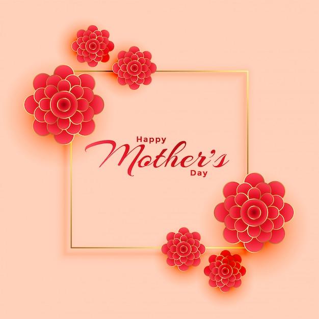 幸せな母の日の花飾り枠 無料ベクター