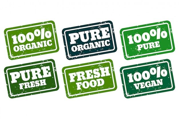 Коллекция органических веганских и чистых резиновых марок Бесплатные векторы