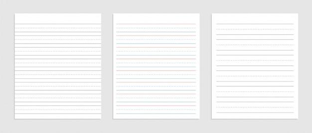 Трехстрочный английский бумажный лист тетради Бесплатные векторы