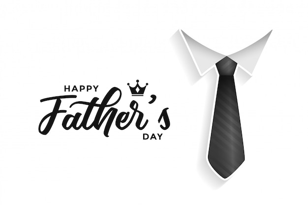 ネクタイと幸せな父親の日カード 無料ベクター