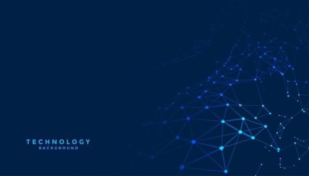 Абстрактный фон цифровых технологий с сетевыми линиями связи Бесплатные векторы