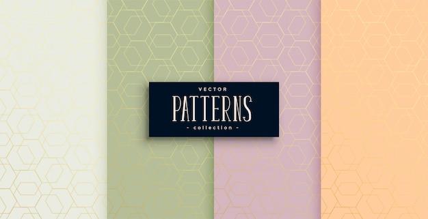 Набор минимальных шестиугольных стилей красивых узоров Бесплатные векторы