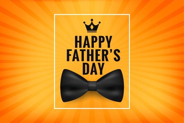 Счастливый день отца желает открытку с реалистичным бантом Бесплатные векторы