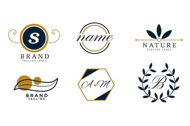 Природа стиль свадебного вензеля логотипы сценография Бесплатные векторы