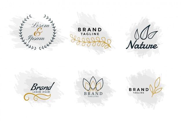 Красивая природа логотипы или коллекция свадебных вензелей Бесплатные векторы