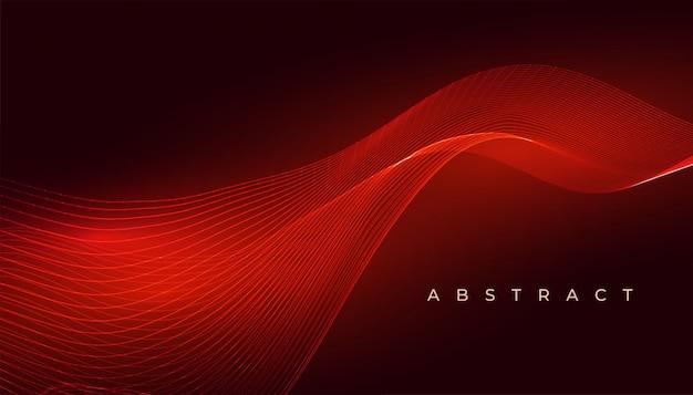 エレガントな赤い光る波の抽象的な背景デザイン 無料ベクター