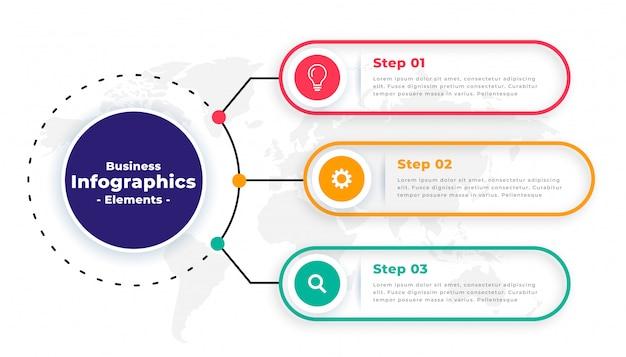 ツリーステップモダンなビジネスインフォグラフィックテンプレートデザイン 無料ベクター