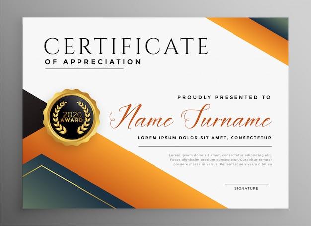 Профессиональный многоцелевой сертификат в геометрическом стиле Бесплатные векторы