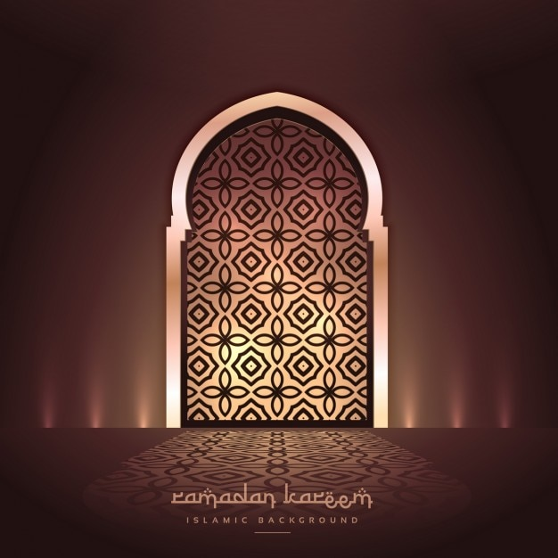 ライトとパターン設計の美しいモスクのドア 無料ベクター
