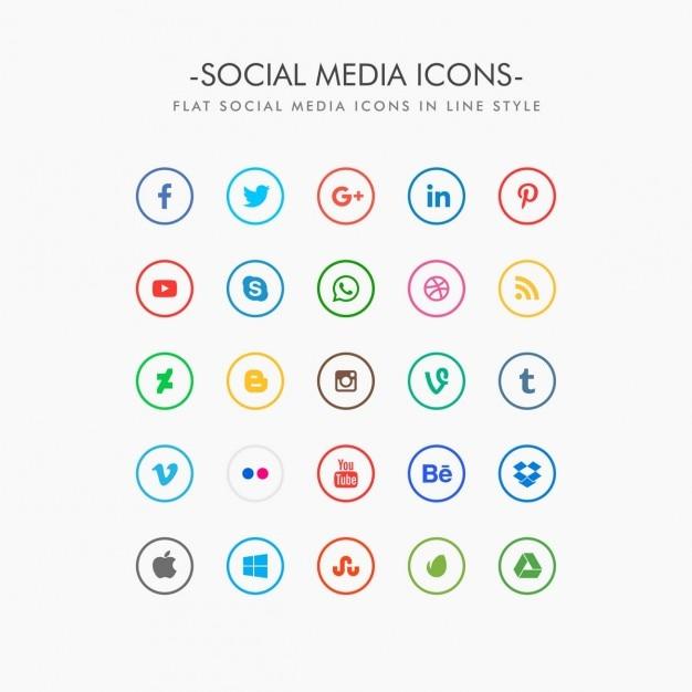 Минимальные иконки социальных медиа пакет Бесплатные векторы