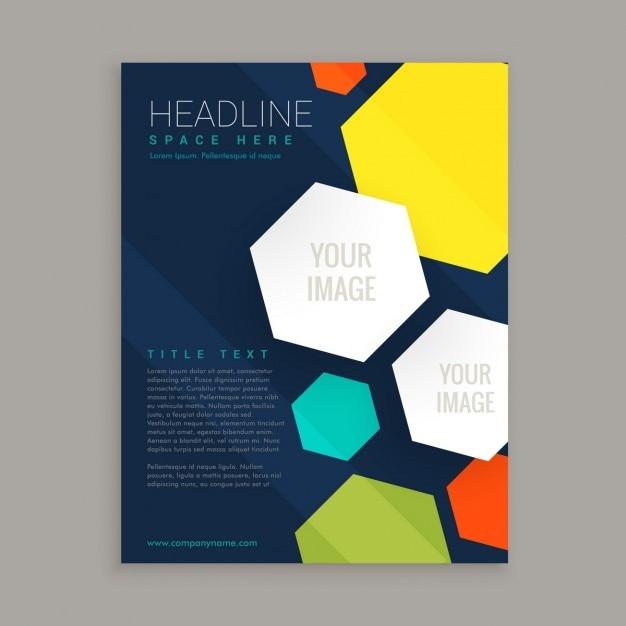 カラフルな六角形とのビジネスパンフレットのデザイン 無料ベクター