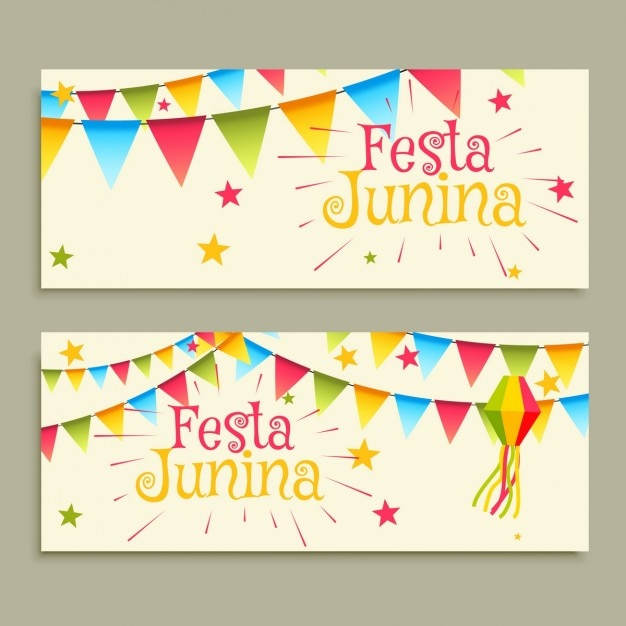 フェスタジュニーナお祝いのバナー 無料ベクター